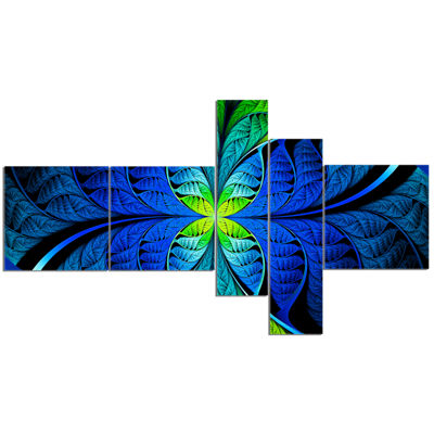 Designart Blue Green Fractal Stained Glass Multipanel Abstract Canvas Art Print - 5 Panels