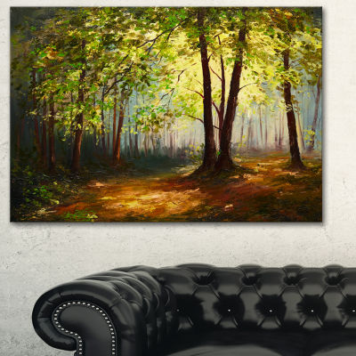 Designart Summer Forest Landscape Art Print Canvas- 3 Panels