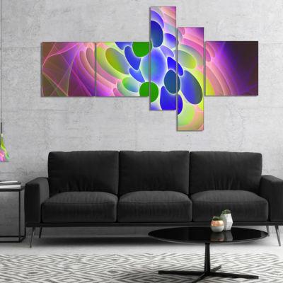 Designart Blue Green Fractal Virus Design Multipanel Abstract Art On Canvas - 4 Panels