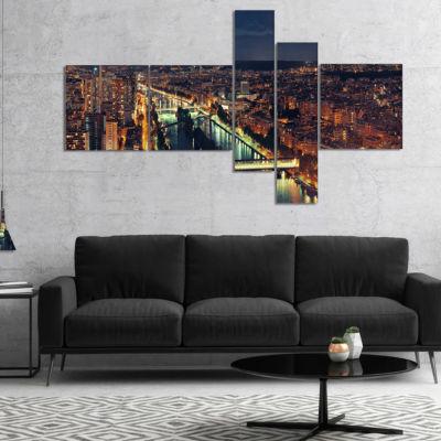 Designart Paris City Night Skyline Multipanel Cityscape Photo Canvas Art Print - 5 Panels