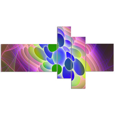 Designart Blue Green Fractal Virus Design Multipanel Abstract Art On Canvas - 5 Panels