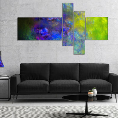 Designart Blue Green Starry Fractal Sky MultipanelAbstract Canvas Art Print - 4 Panels