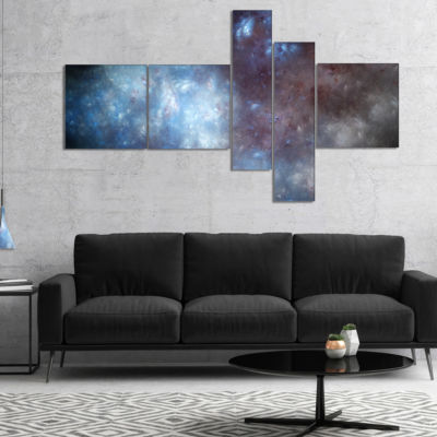 Designart Blue Grey Starry Fractal Sky MultipanelAbstract Art On Canvas - 4 Panels