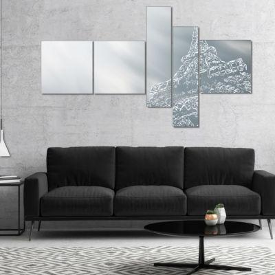 Designart Paris Eiffel Towerart Background Multipanel Extra Large Canvas Art Print - 5 Panels