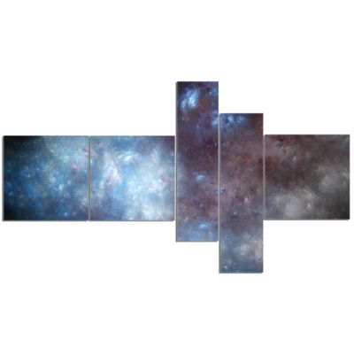 Designart Blue Grey Starry Fractal Sky MultipanelAbstract Art On Canvas - 5 Panels