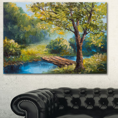 Designart Summer Forest With Beautiful River Landscape Art Print Canvas - 3 Panels