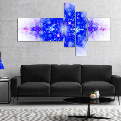 Designart Blue Illustration Pattern Multipanel Abstract Canvas Art Print - 4 Panels