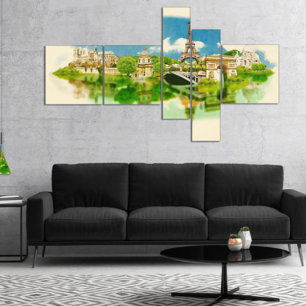 Designart Paris Panoramic View Multipanel Cityscape Watercolor Canvas Print - 4 Panels