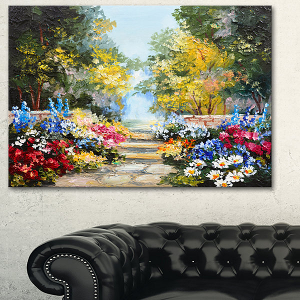 Designart Summer Forest With Flowers Landscape ArtPrint Canvas