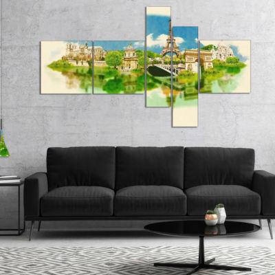 Designart Paris Panoramic View Multipanel Cityscape Watercolor Canvas Print - 5 Panels