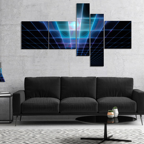 Designart Blue Laser Protective Grids MultipanelAbstract Canvas Art Print - 5 Panels