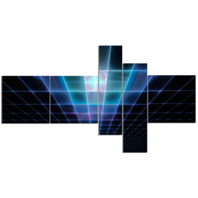 Designart Blue Laser Protective Grids Multipanel Abstract Canvas Art Print - 5 Panels