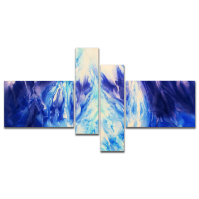 Designart Blue Life Multipanel Abstract Canvas ArtPrint - 4 Panels