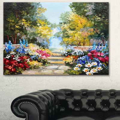 Designart Summer Forest With Flowers Landscape ArtPrint Canvas - 3 Panels
