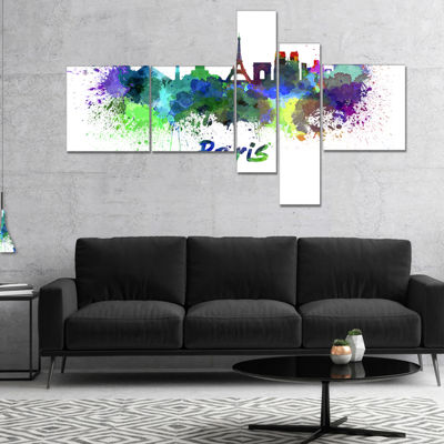 Designart Paris Skyline Multipanel Cityscape Canvas Art Print - 5 Panels