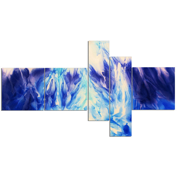 Designart Blue Life Multipanel Abstract Canvas ArtPrint - 5 Panels