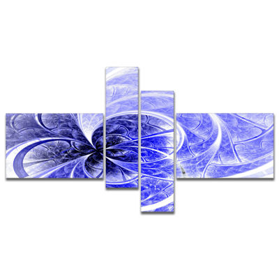 Designart Blue Light Fractal Flower Pattern Multipanel Abstract Canvas Art Print - 4 Panels