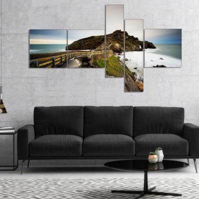 Designart Path To Cape And Chapel In Spain Multipanel Seashore Photo Canvas Print - 5 Panels