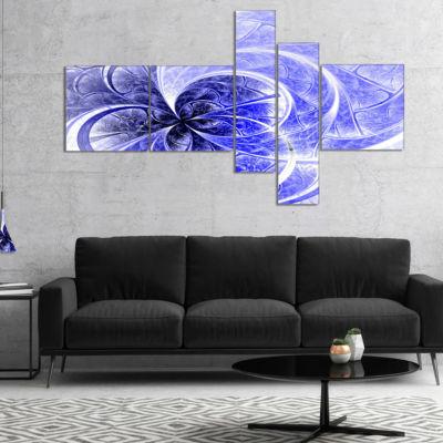 Designart Blue Light Fractal Flower Pattern Multipanel Abstract Canvas Art Print - 5 Panels