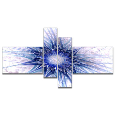 Designart Blue Light Fractal Flower Texture Multipanel Abstract Canvas Art Print - 4 Panels