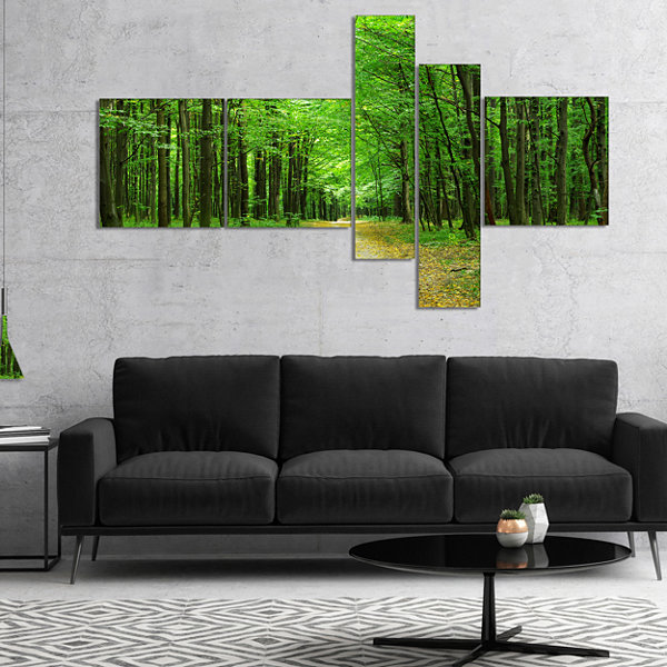 Designart Pathway In Green Forest Multipanel Landscape Photography Canvas Print - 5 Panels