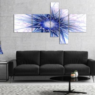 Designart Blue Light Fractal Flower Texture Multipanel Abstract Canvas Art Print - 5 Panels