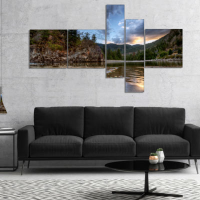 Designart Peaceful Evening At Mountain Creek Multipanel Landscape Canvas Art Print - 4 Panels