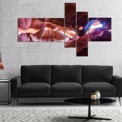 Designart Blue Light In Antelope Canyon MultipanelLandscape Photography Canvas Print - 5 Panels