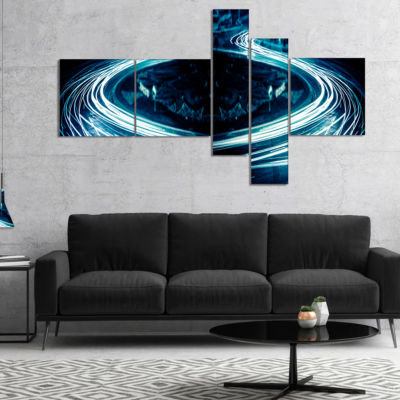 Designart Blue Light Trails Multipanel Abstract Canvas Art Print - 4 Panels