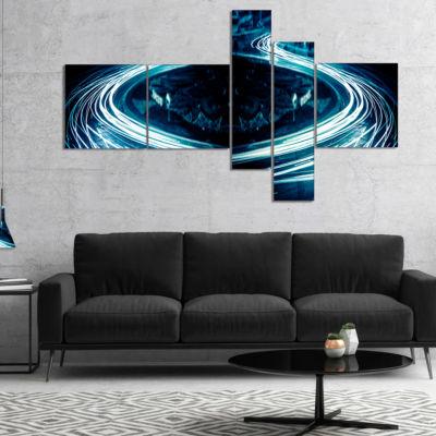 Designart Blue Light Trails Multipanel Abstract Canvas Art Print - 5 Panels