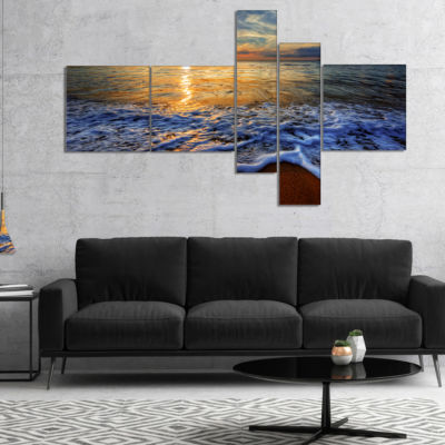 Designart Peaceful Sandy Beach With Waves Multipanel Extra Large Canvas Art Print - 5 Panels