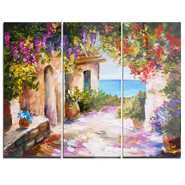 Designart Summer Seascape Landscape Art Print Canvas - 3 Panels