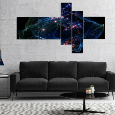 Designart Blue Lights Of Network Multipanel Abstract Canvas Art Print - 5 Panels