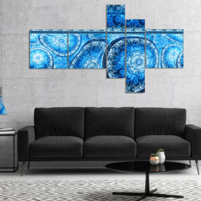 Designart Blue Living Cells Fractal Design Multipanel Abstract Canvas Art Print - 4 Panels