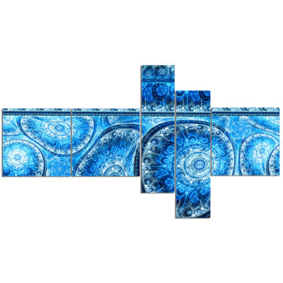 Designart Blue Living Cells Fractal Design Multipanel Abstract Canvas Art Print - 5 Panels