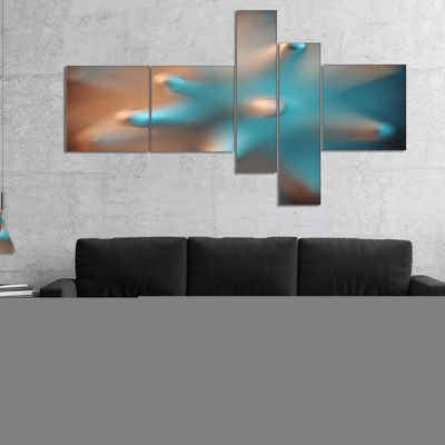 Designart Blue Macro Prickly Texture Multipanel Abstract Canvas Wall Art - 5 Panels