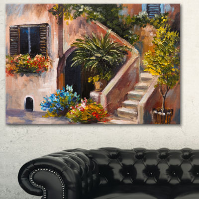 Designart Summer Terrace Landscape Art Print Canvas - 3 Panels