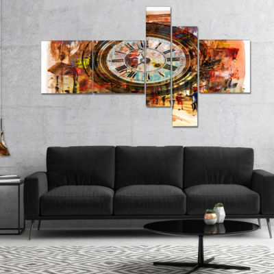 Designart People And Time Acrylic Painting Multipanel Abstract Canvas Artwork - 5 Panels