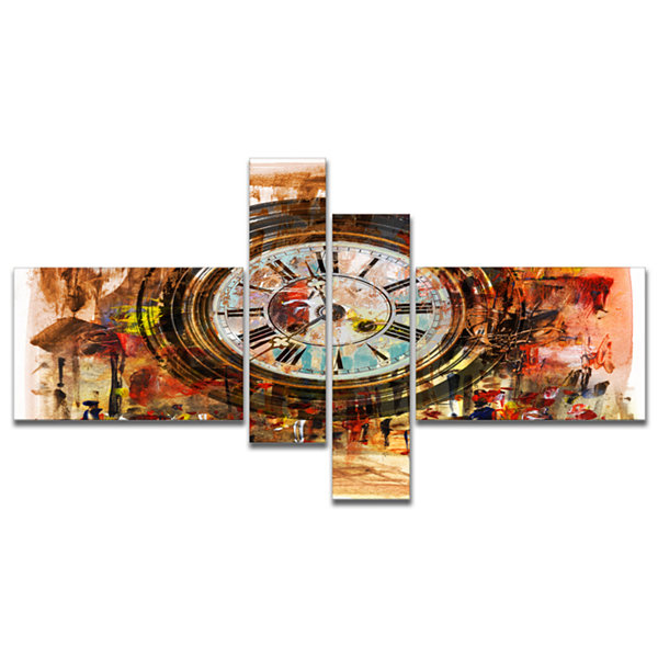 Designart People And Time Acrylic Painting Multipanel Large Abstract Canvas Artwork - 4 Panels