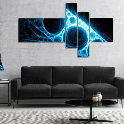 Designart Blue Metal Construction In Black Multipanel Abstract Canvas Art Print - 5 Panels
