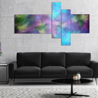 Designart Perfect Blue Purple Starry Sky Multipanel Abstract Canvas Art Print - 4 Panels