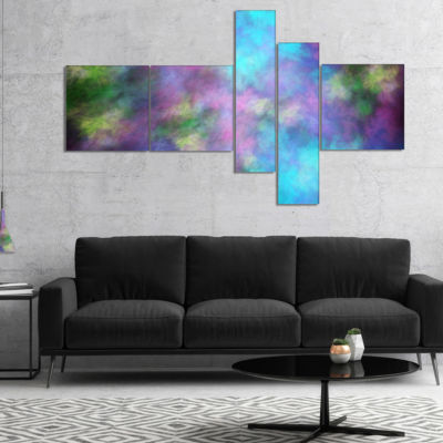 Designart Perfect Blue Purple Starry Sky Multipanel Abstract Canvas Art Print - 5 Panels