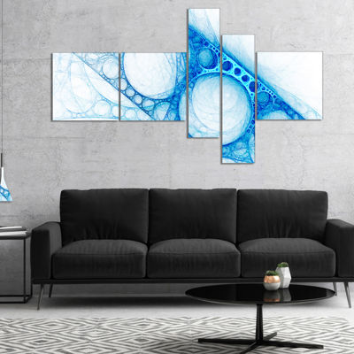Designart Blue Metal Construction Multipanel Abstract Canvas Art Print - 5 Panels