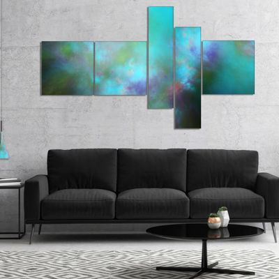 Designart Perfect Blue Starry Sky Multipanel Abstract Canvas Wall Art - 5 Panels