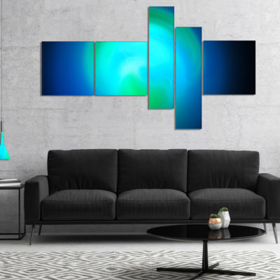 Designart Blue Misty Sphere On Black Multipanel Abstract Canvas Art Print - 5 Panels