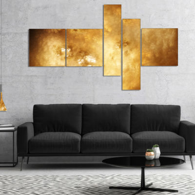 Designart Perfect Brown Starry Sky Multipanel Abstract Canvas Art Print - 5 Panels