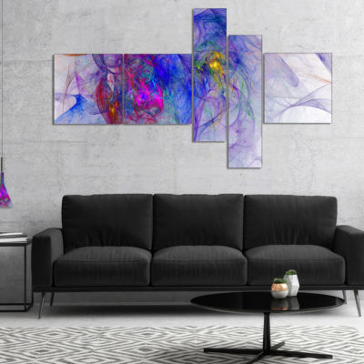 Designart Blue Mystic Psychedelic Texture Multipanel Abstract Art On Canvas - 5 Panels