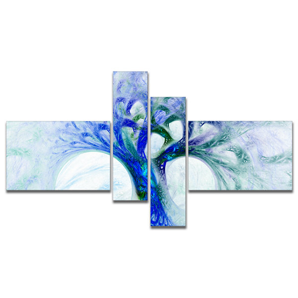 Designart Blue Mystic Psychedelic Tree MultipanelAbstract Wall Art Canvas - 4 Panels