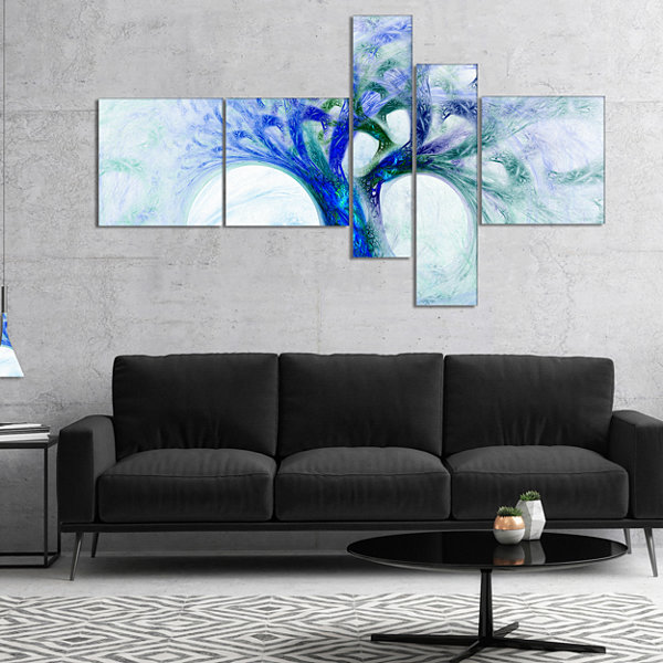 Designart Blue Mystic Psychedelic Tree MultipanelAbstract Wall Art Canvas - 5 Panels