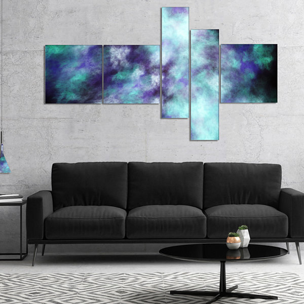 Designart Perfect Flowery Starry Sky Multipanel Abstract Canvas Art Print - 5 Panels